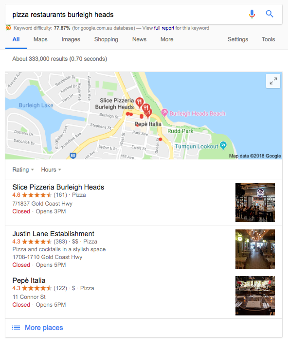 Google's Local Pack Search for Pizza
